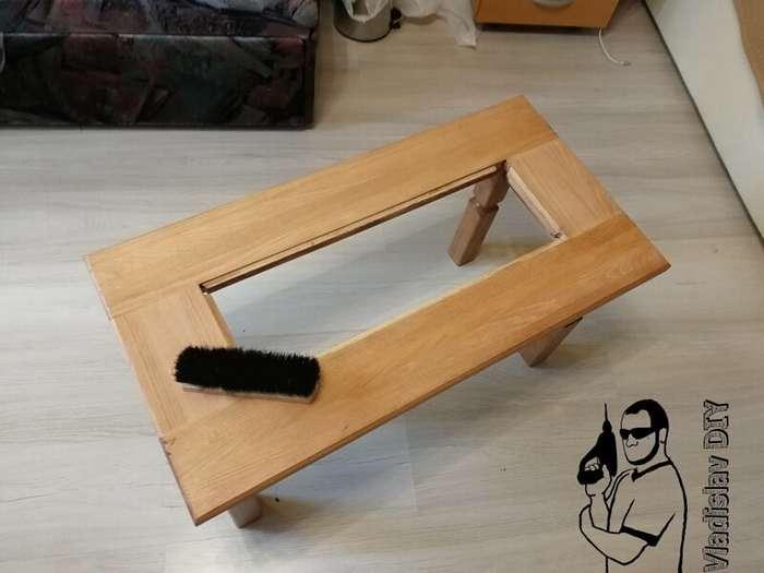 Журнальный стол из массива без единого гвоздя   Интересное